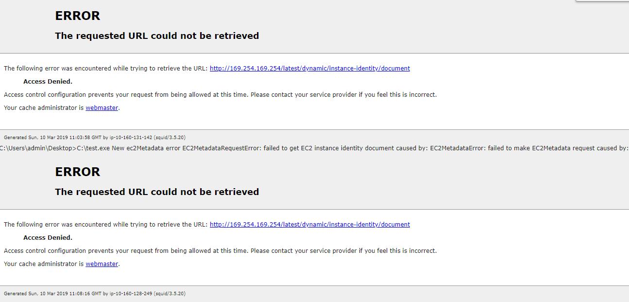 Access denied for ec2metadata on windows EC2 instance