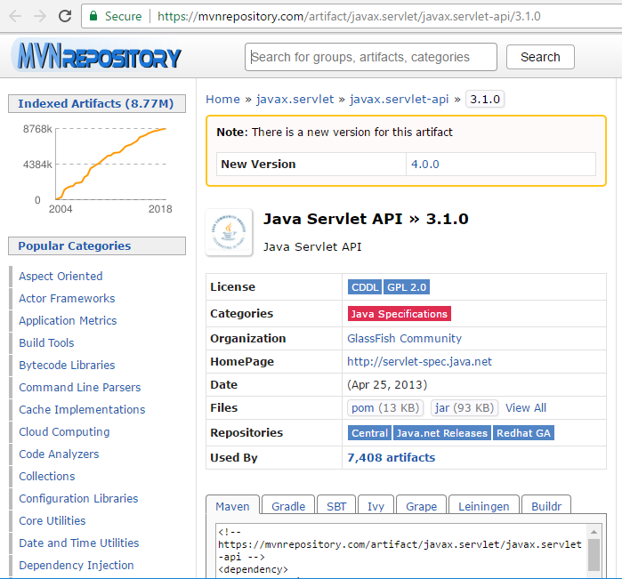 javax servlet-api-3 1 0 jar and javax servlet jsp-api-2 3 0