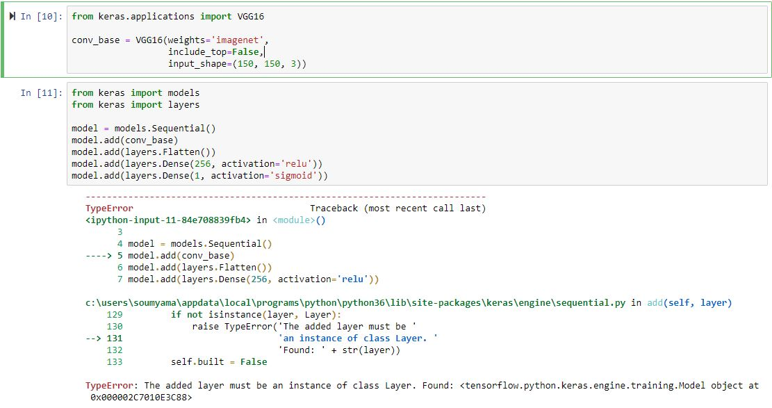 TypeError: The added layer must be an instance of class