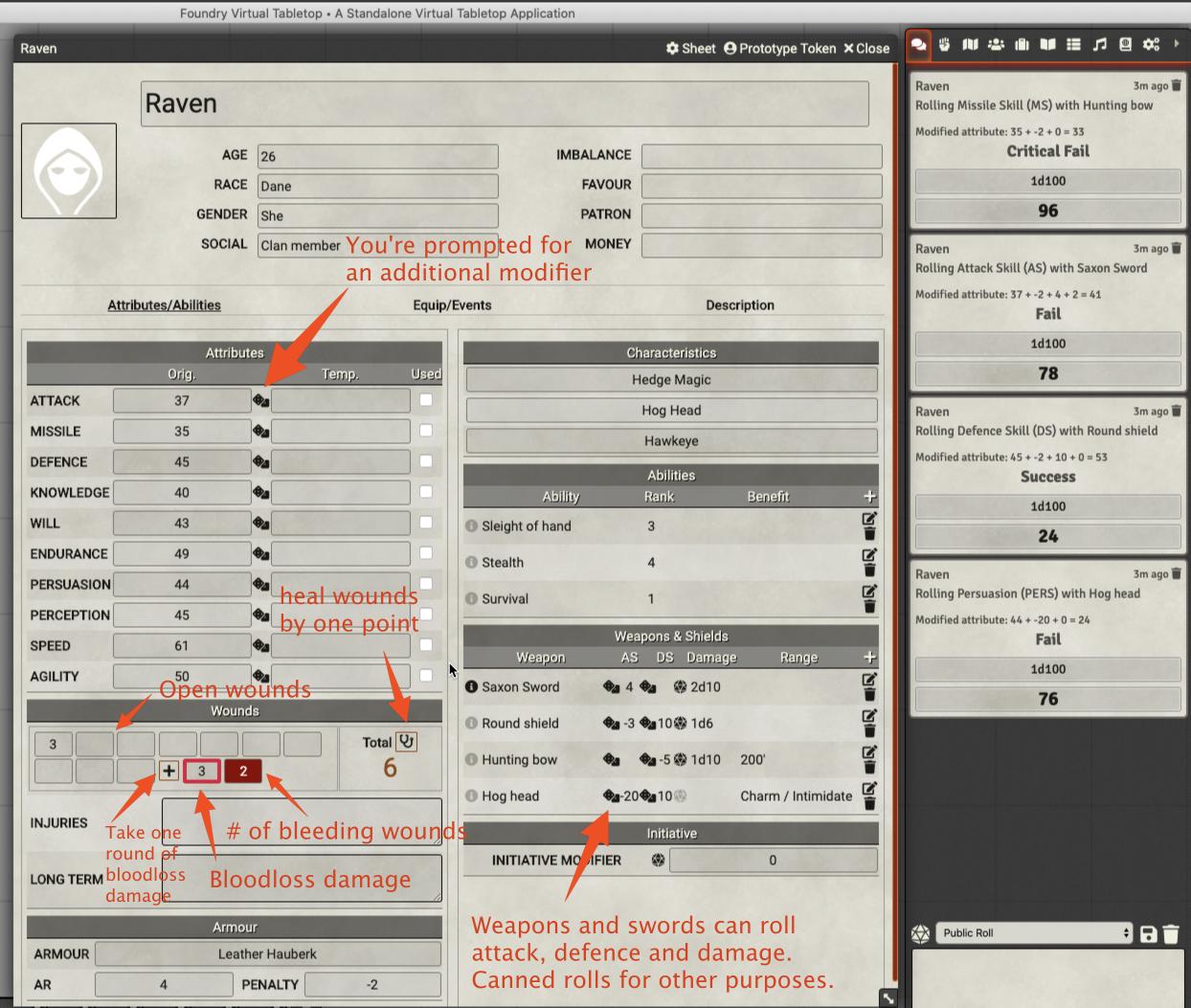 Charactersheet screen shot