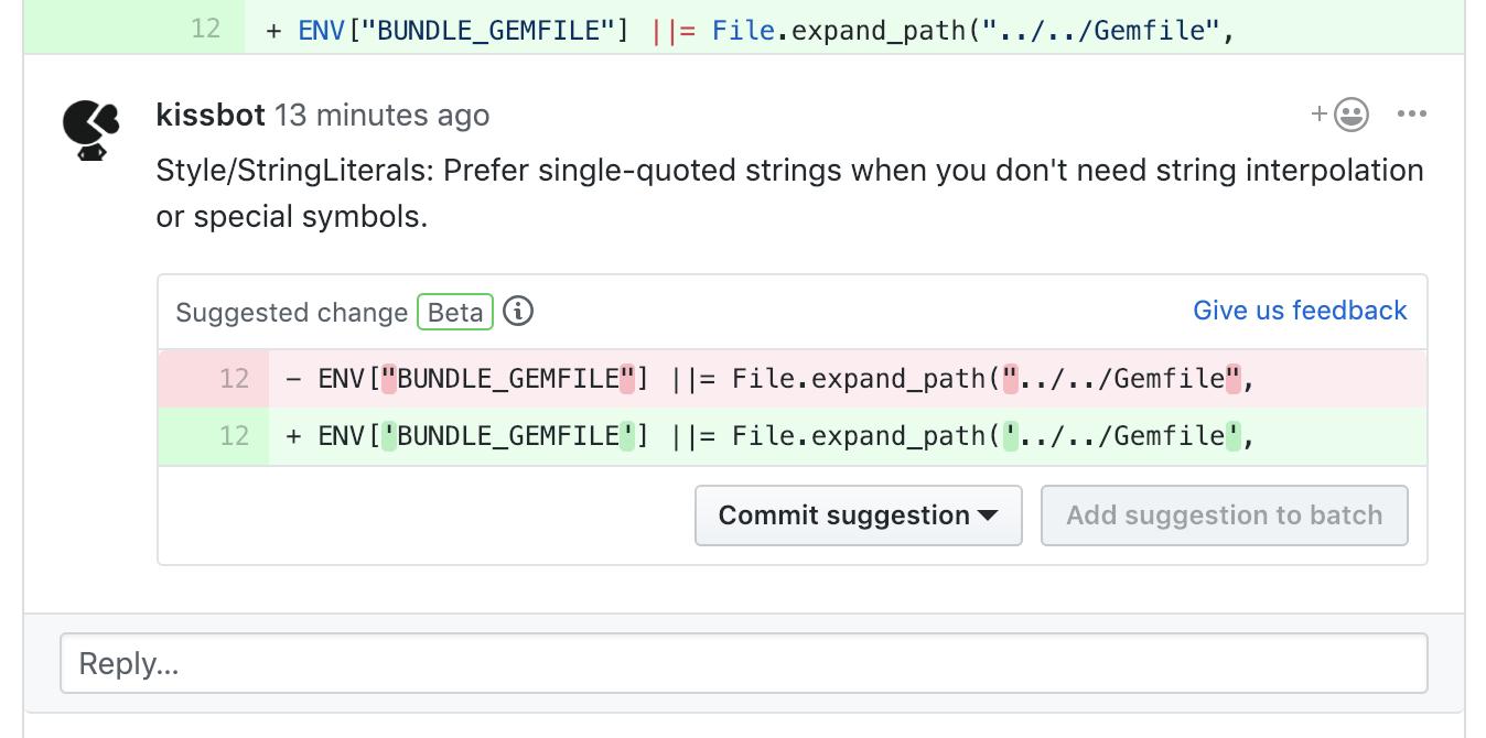 GitHub screenshot with suggestion