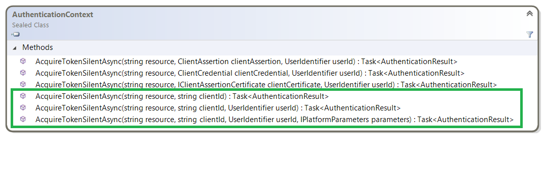 AcquireTokenSilentAsync using a cached token · AzureAD/azure