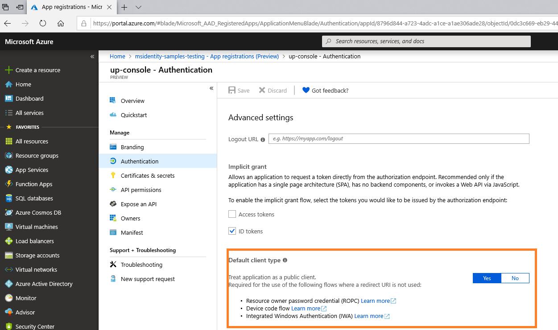 Username Password Authentication · AzureAD/microsoft