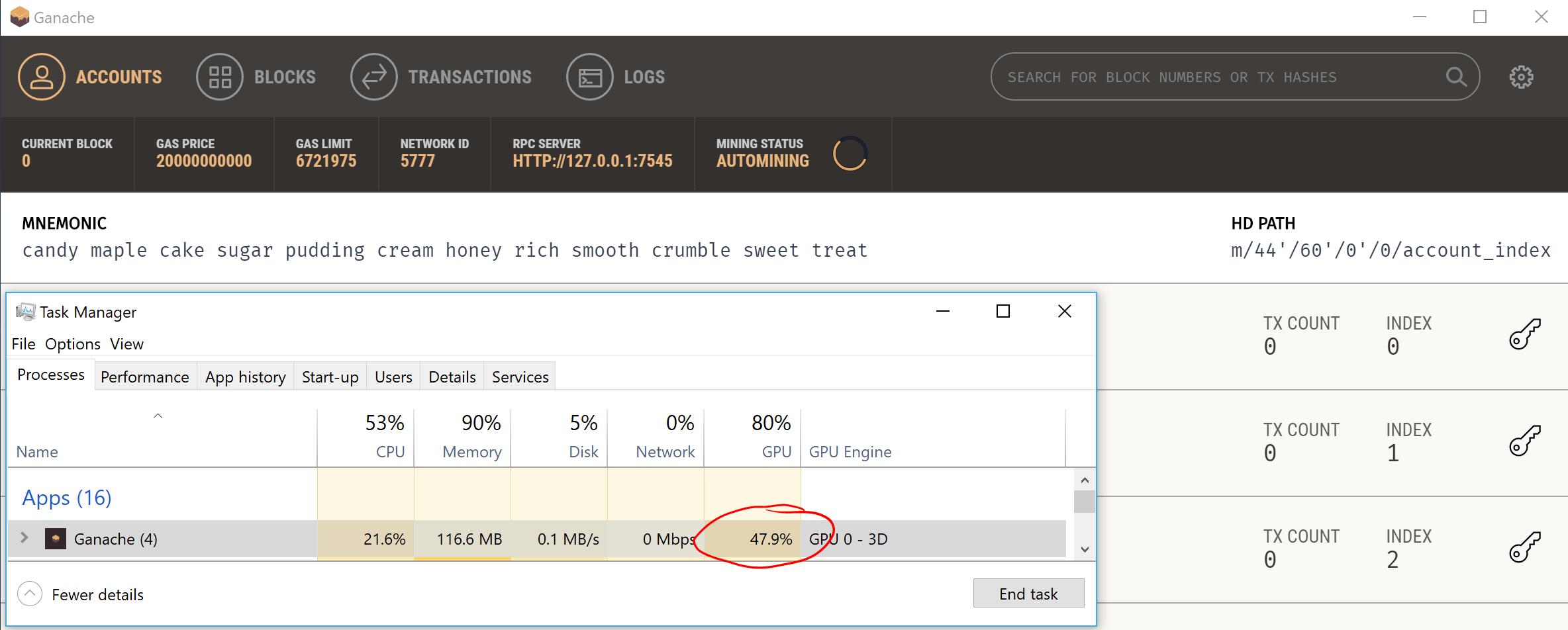 Heavy GPU usage when window open · Issue #114 · trufflesuite/ganache