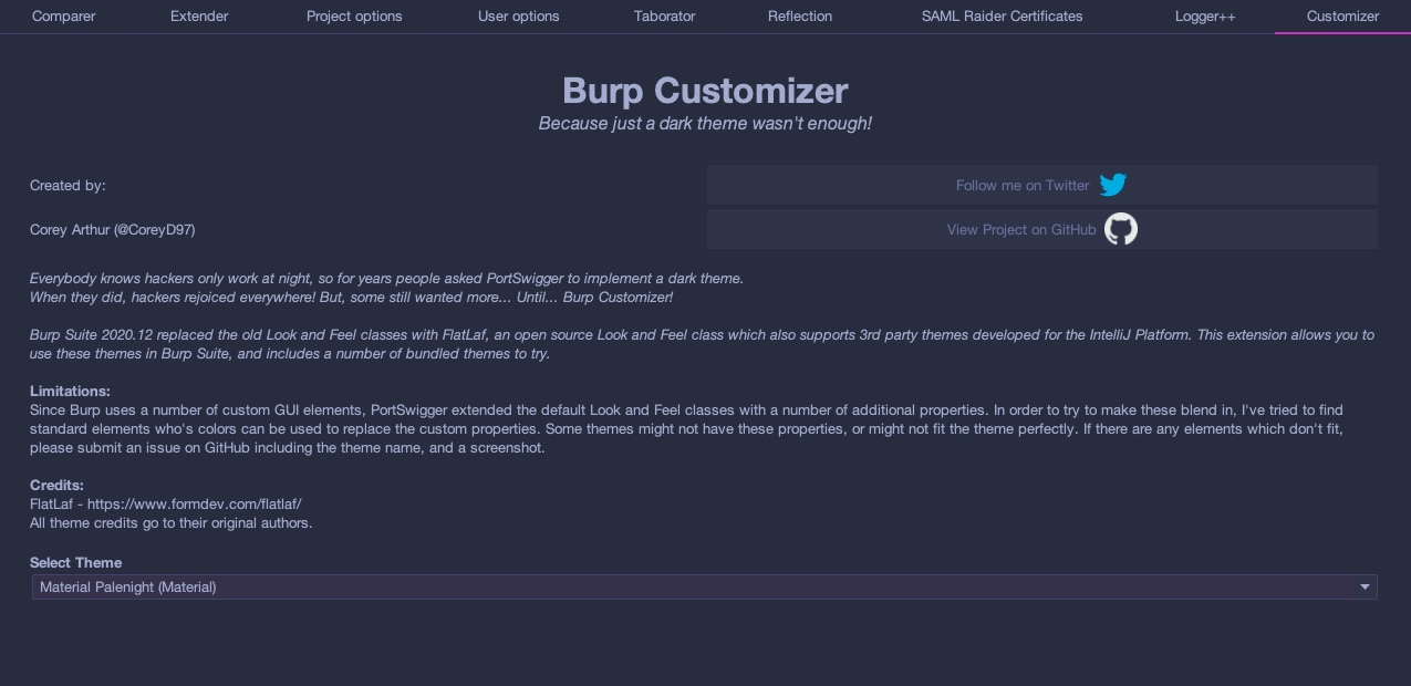 Burp Customizer! Change your burpsuite theme