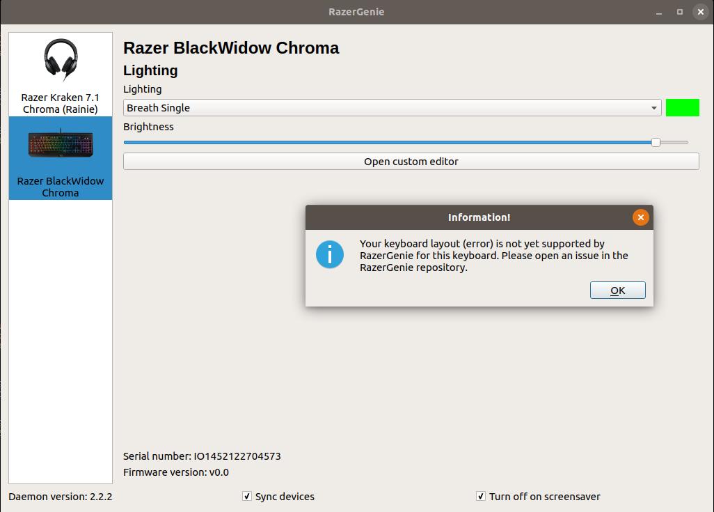 Razer BlackWidow Chroma british keyboard layout not supported