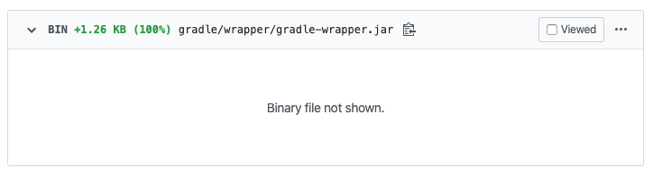 Image of a GitHub Diff of Gradle Wrapper displaying text 'Binary file not shown.'