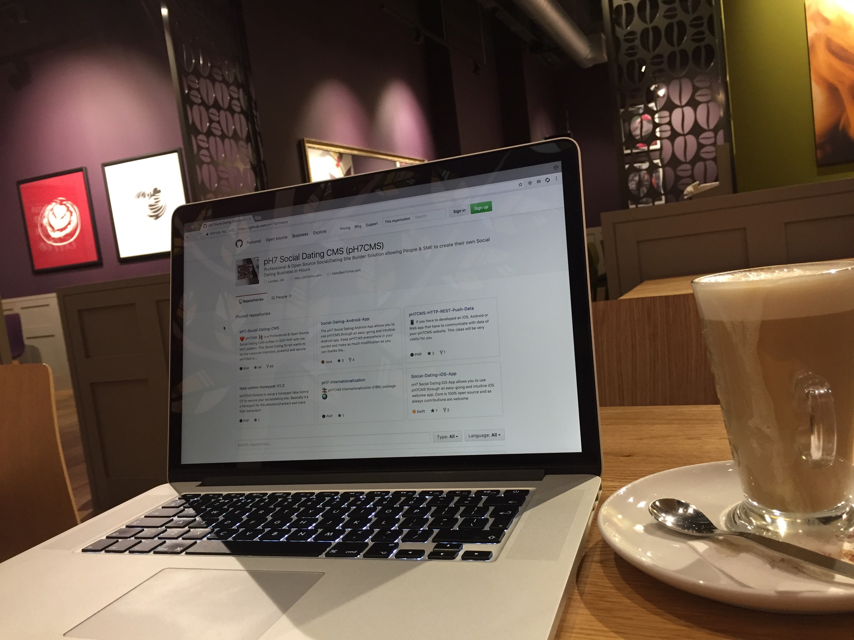 pH7Software GitHub. Me, at a Costa coffee shop on Feb 4th, 2017.