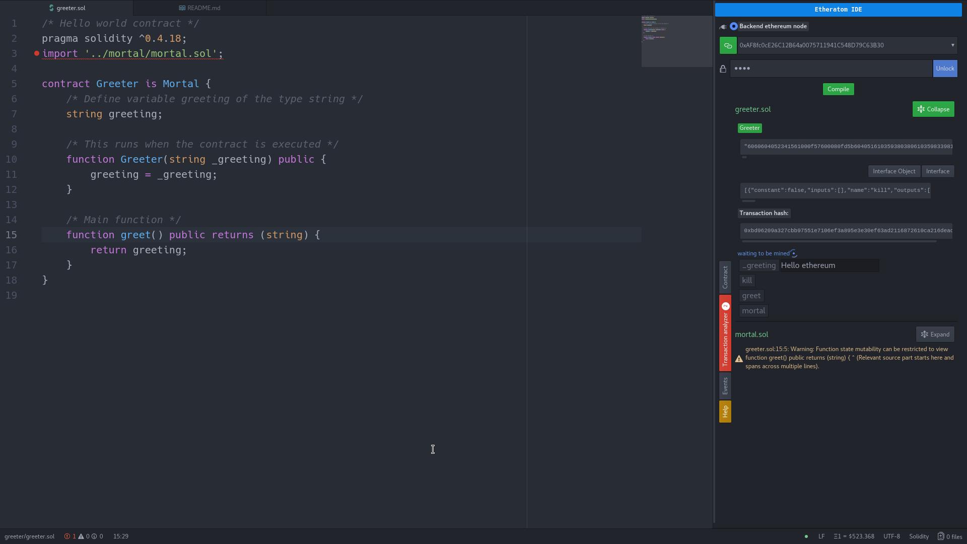 A screenshot of Etheratom package