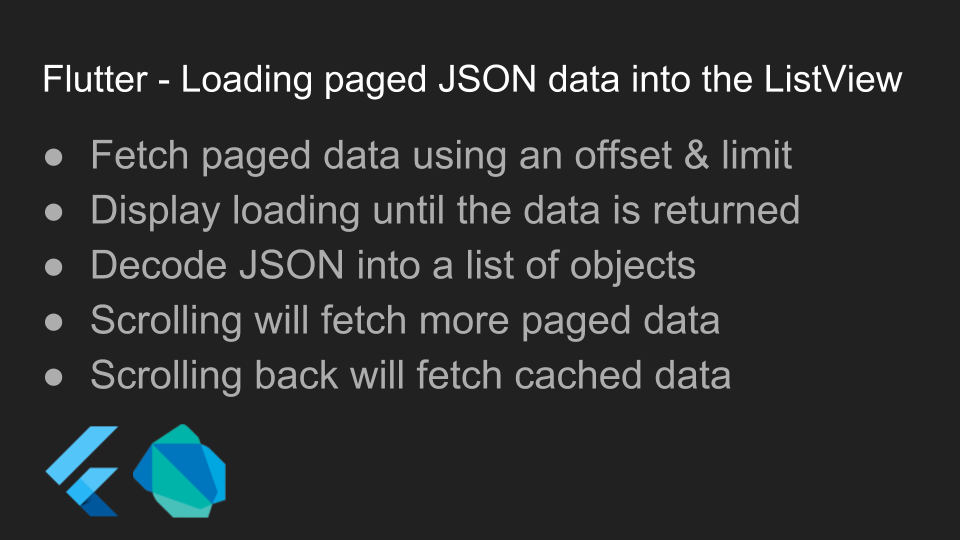 Source for the Youtube video: Flutter - Loading paged JSON
