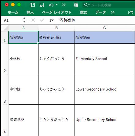 Excel(1行1レコードのデータ)の画面