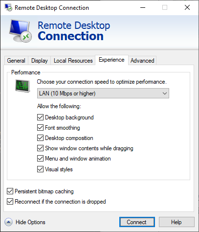 Remote Desktop Connection Window, Experience Tab