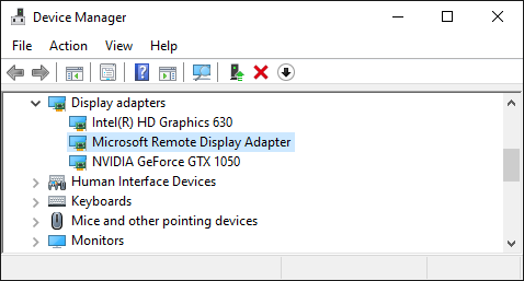 Device Manager Window, Microsoft Remote Display Adapter
