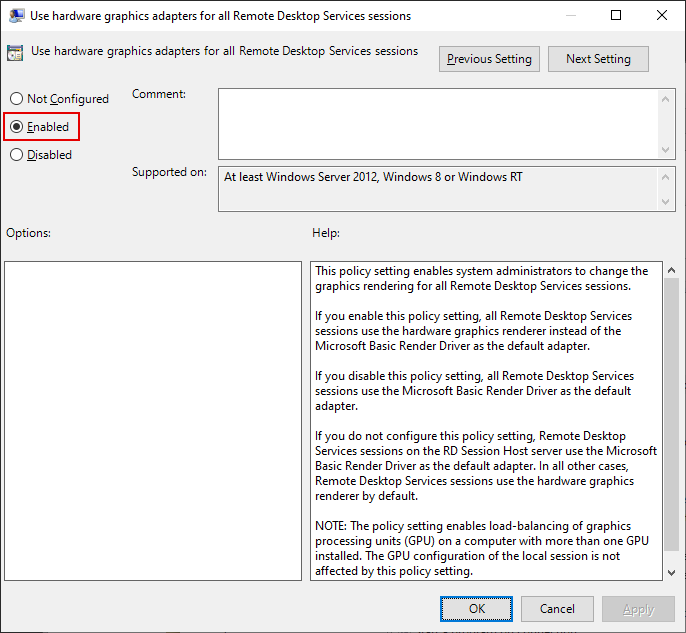 Local Group Policy Editor Window, Use hardware graphics adapters for all Remote Desktop Services sessions