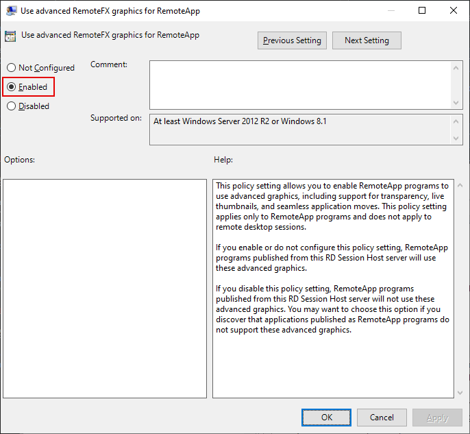 Local Group Policy Editor Window, Use advanced RemoteFX graphics for RemoteApp