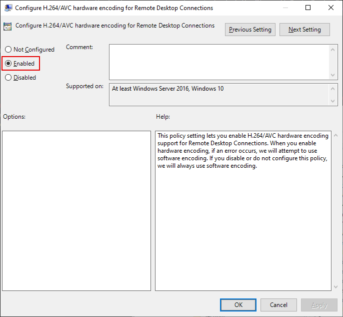 Local Group Policy Editor Window, Configure H.264/AVC hardware encoding for Remote Desktop Connections