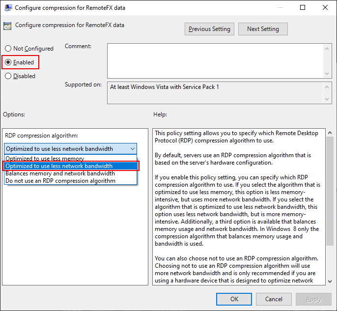 Local Group Policy Editor Window, Configure compression for RemoteFX data