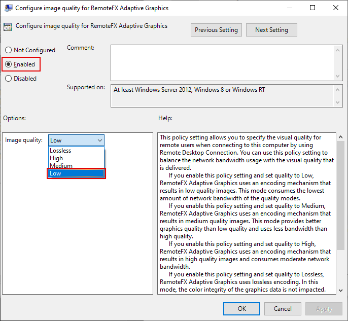 Local Group Policy Editor Window, Configure image quality for RemoteFX Adaptive Graphics