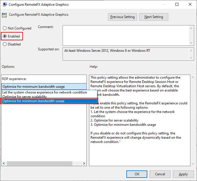 Local Group Policy Editor Window, Configure RemoteFX Adaptive Graphics