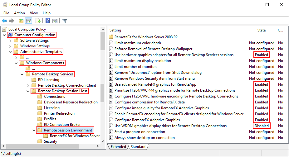 Local Group Policy Editor Window, Remote Session Envionment
