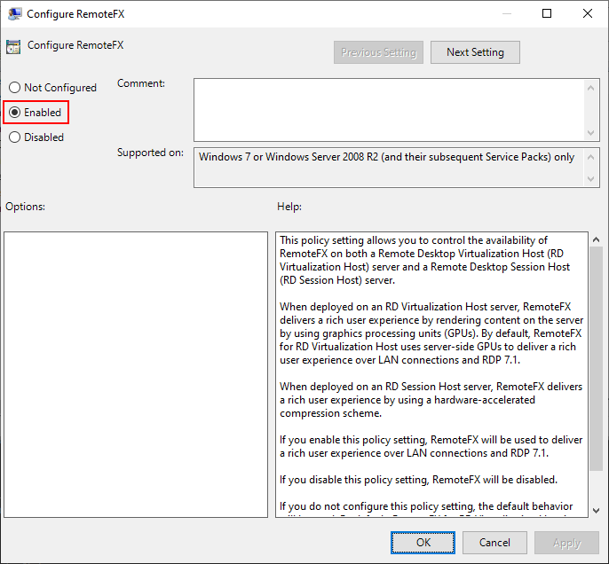 Local Group Policy Editor Window, Configure RemoteFX