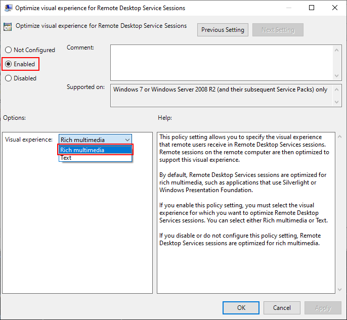 Local Group Policy Editor Window, Optimize visual experience for Remote Desktop Service Sessions