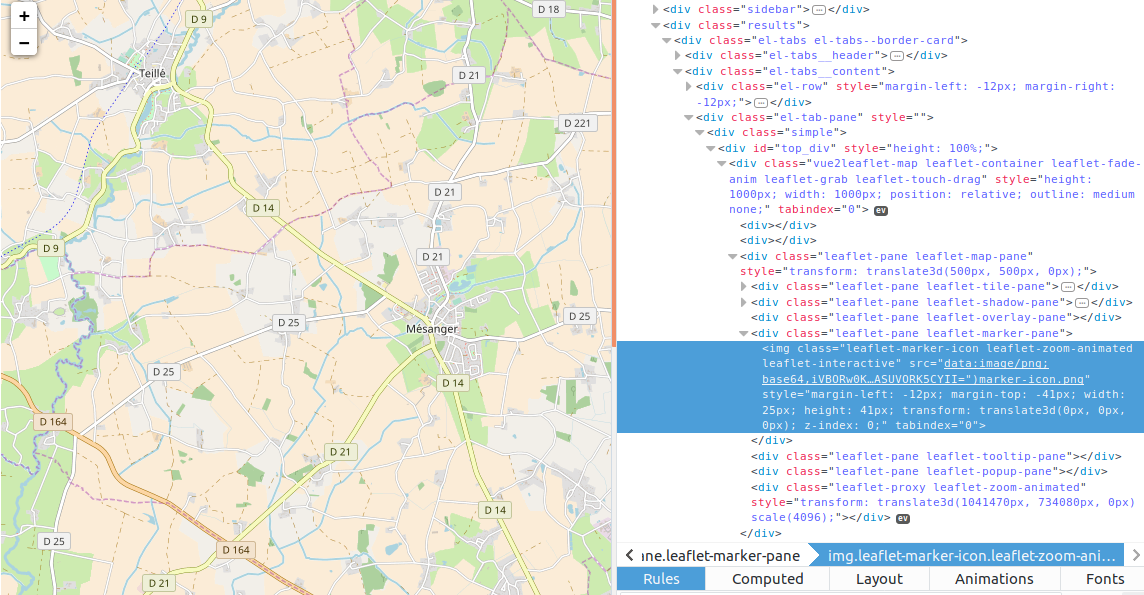 vue-marker not displaying on map and map not fully rendering