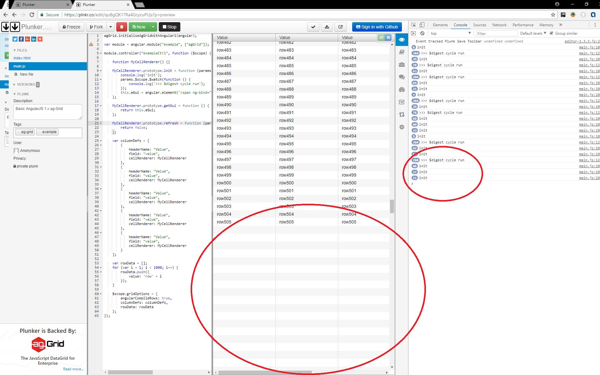 Angularjs Grid Examples