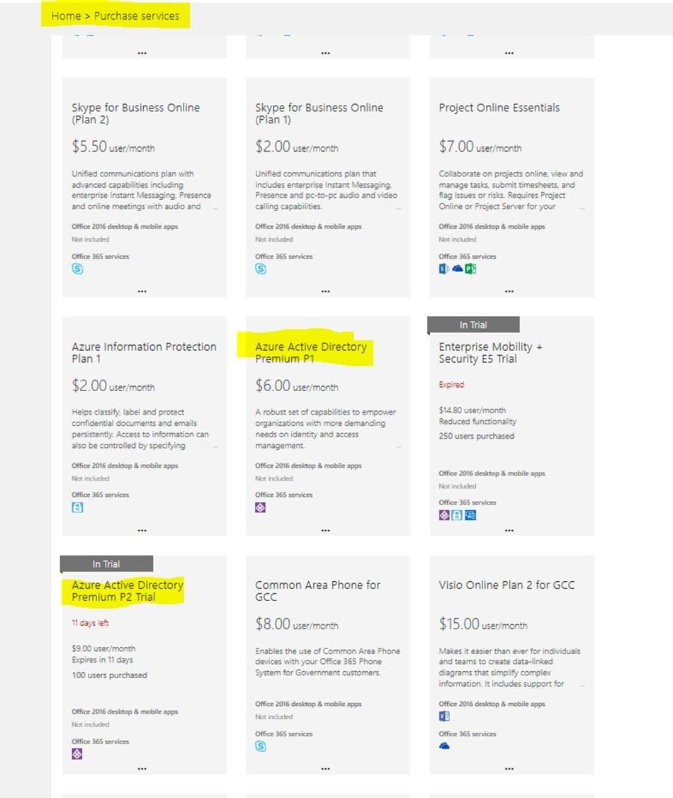 Azure Active Directory Basic, Premium P1, or Premium P2