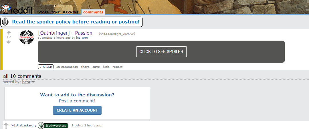 Tabs on Reddit threads omit sections of spoiler tagged