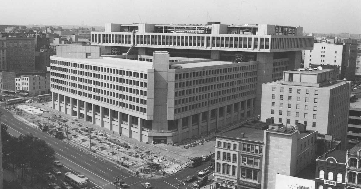 Photograph of View of J. Edgar Hoover FBI Building from National Archives Roof