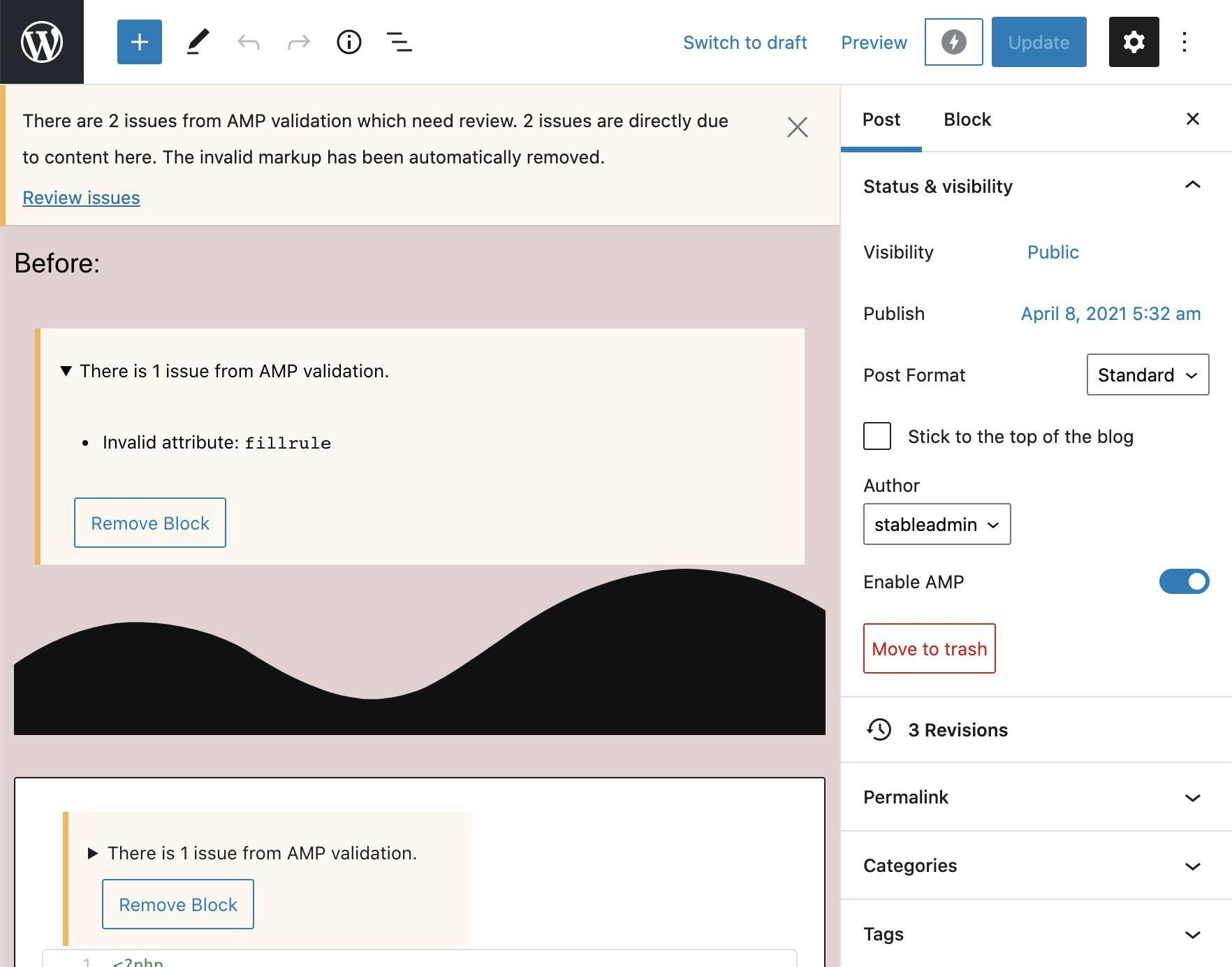 Validation errors in block editor before