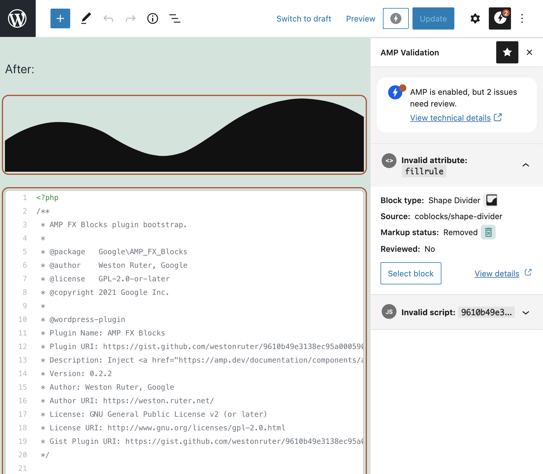 Validation errors in block editor after