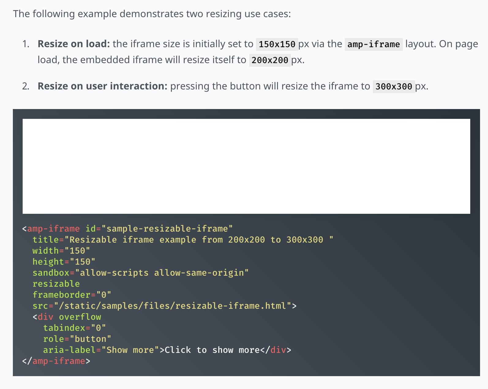 Resizable amp-iframe example is broken (Origin of <amp-iframe> must