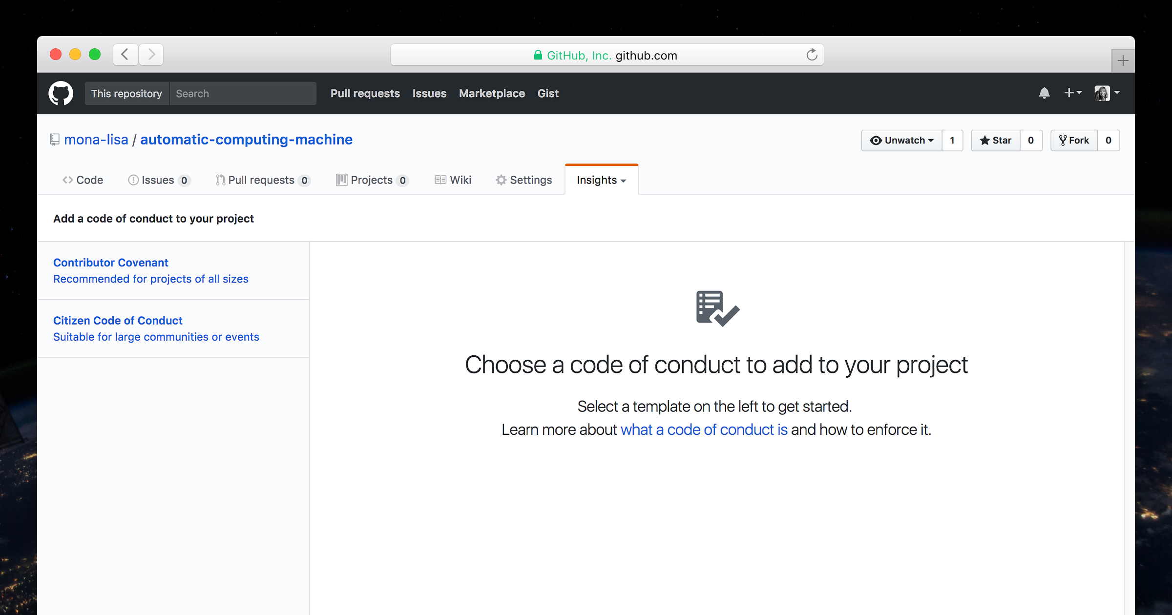 Screenshot of the new code of conduct tooll