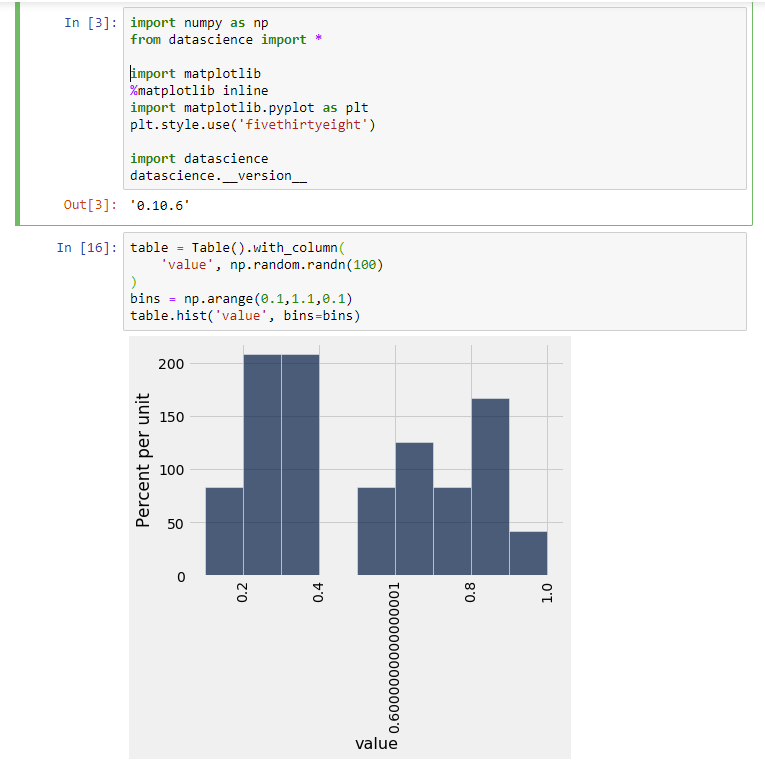 Table hist with bins as np arange does not follow pyplot's x