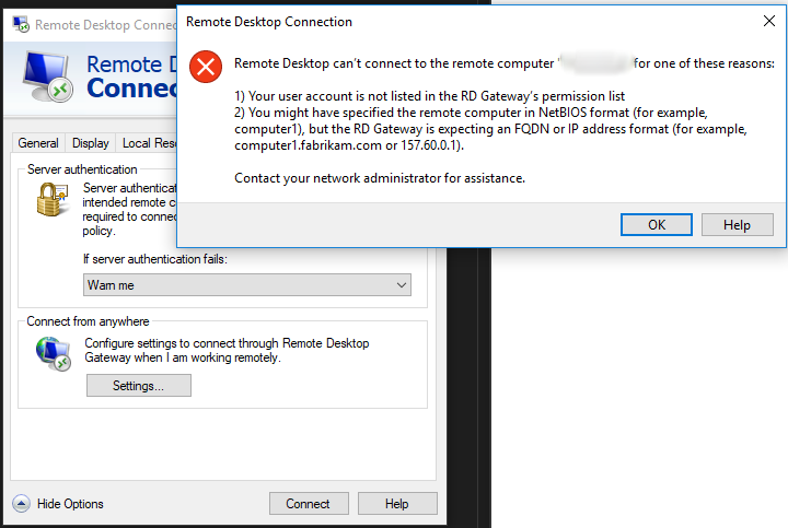 Remote Desktop can't connect to the remote computer / Event