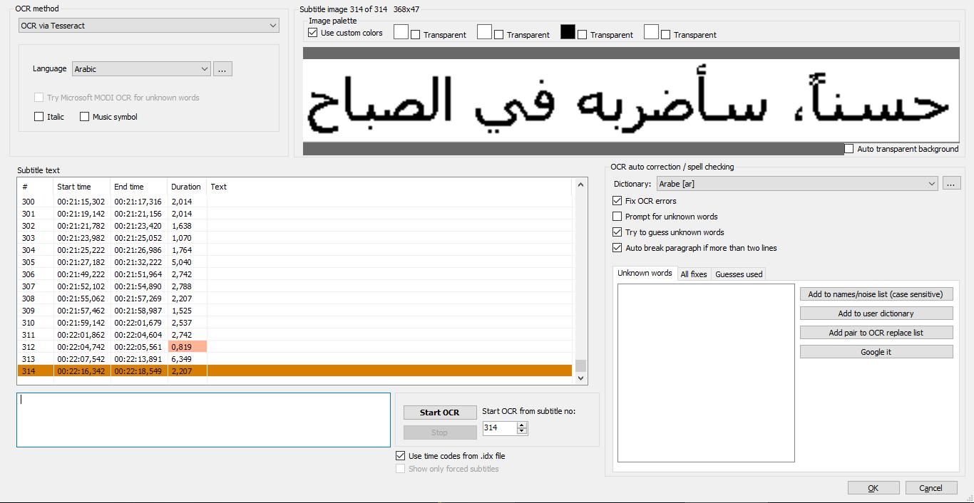 Arabic OCR via Tesseract · Issue #2759 · SubtitleEdit/subtitleedit