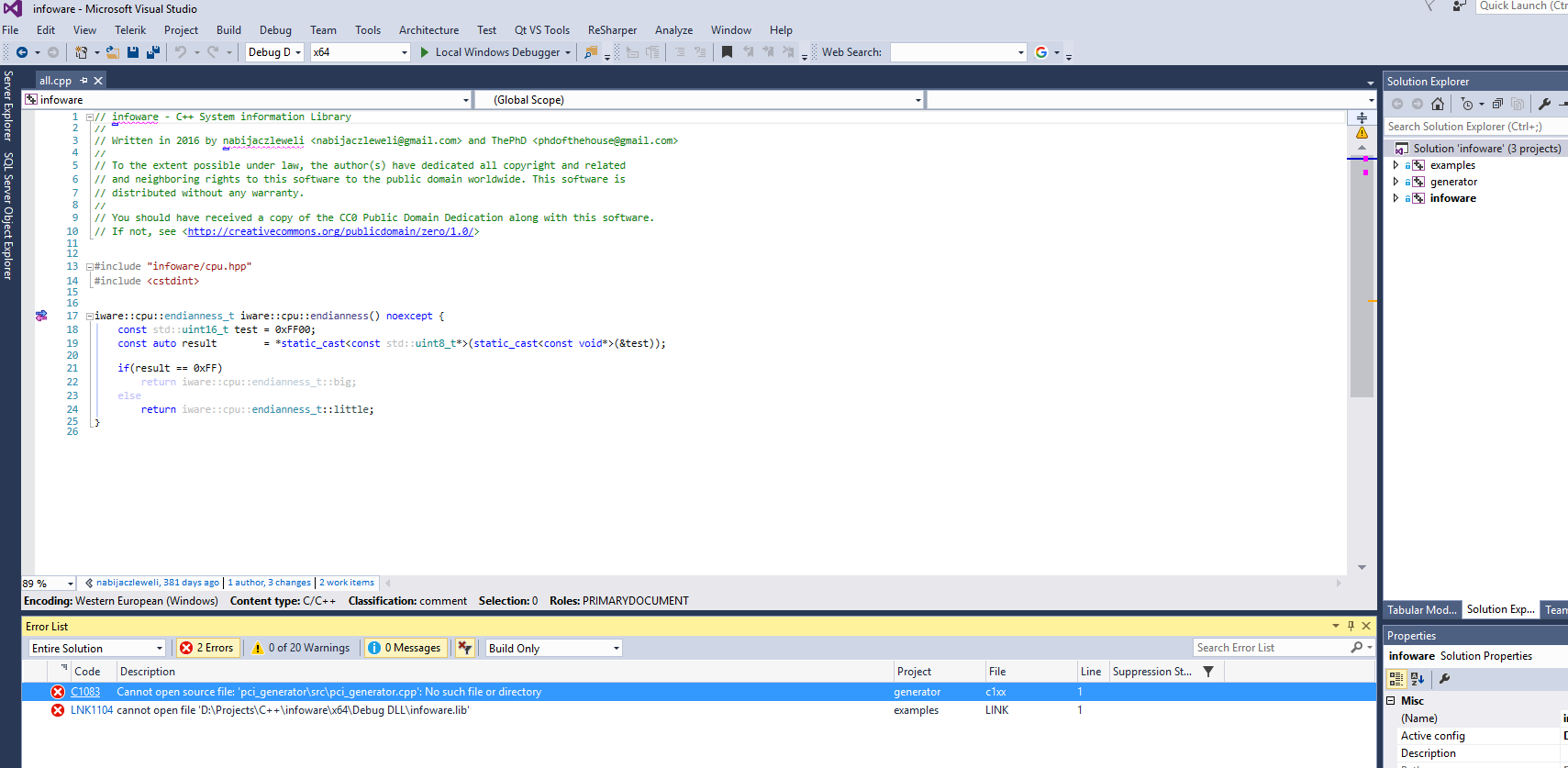 Visual Studio solution build fails · Issue #5 · ThePhD