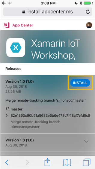XamarinIoTWorkshop/AppCenterInstallation md at master