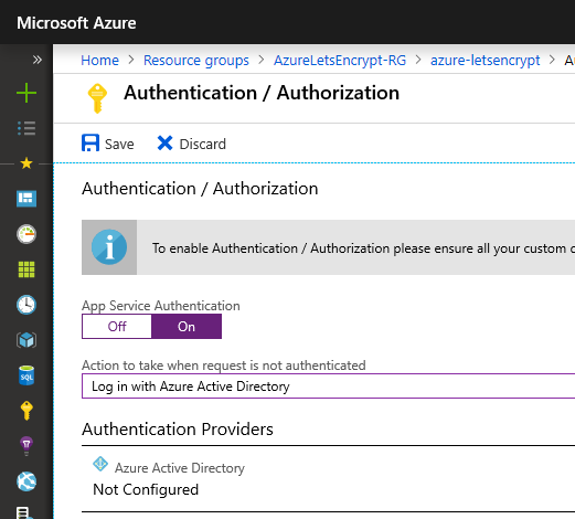 Enable App Service Authentication with AAD
