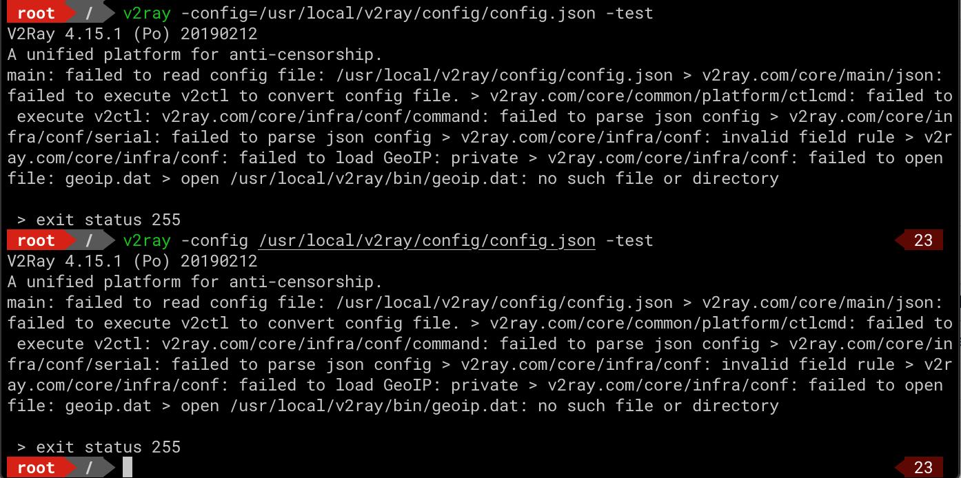 main: failed to read config file: /usr/local/v2ray/config/config json