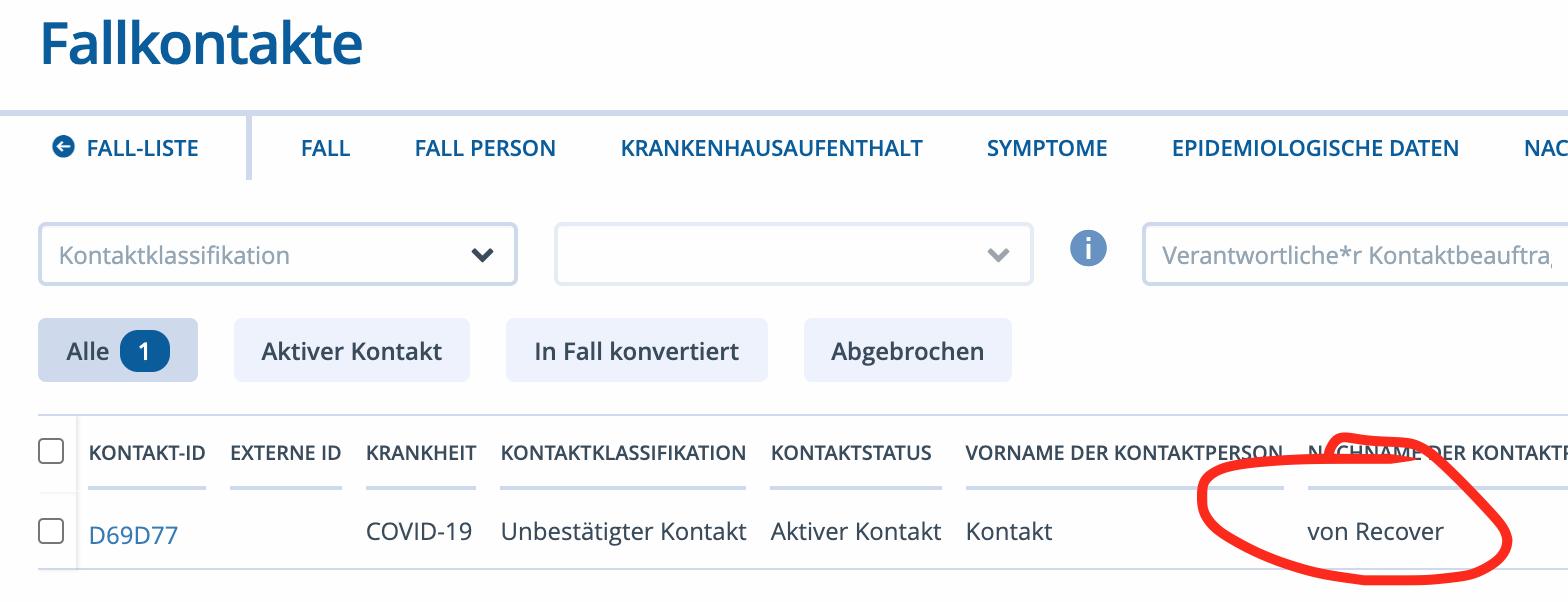 SORMAS Fallkontakte