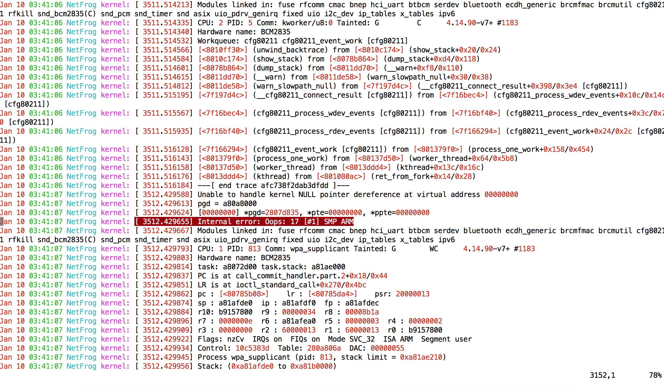raspberrypi 3b wifi 802 1x benchmark, kernel Internal error