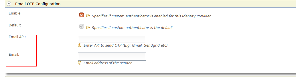 Missing validation on email OTP authenticator configuration