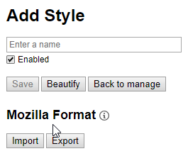 Mozilla Format in non-usercss editor mode
