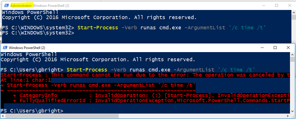 powershell_script' Process not Elevated when running under
