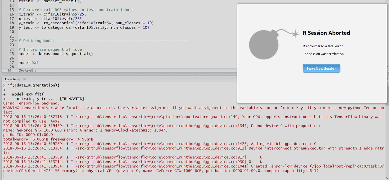 R studio crashes when running cifar10_cnn example · Issue