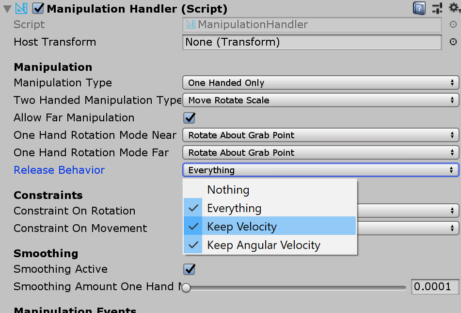 Throwing objects is not working in ManipulationHandler