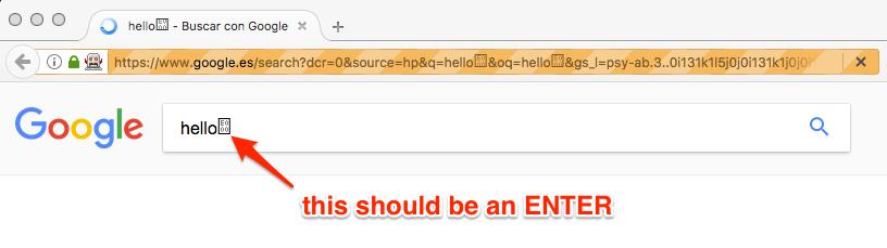 Element Send Keys does not recognise ENTER or RETURN PUA special